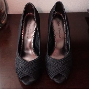 Lulu Townsend black peep toe pumps